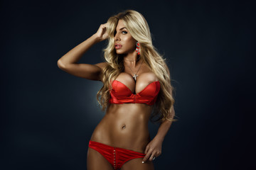 Sexy girl in red underwear