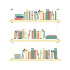Flat Design Books On Rope Shelf Vector Illustration