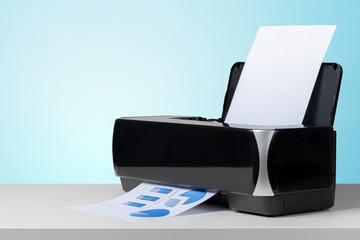 Printer on white desk