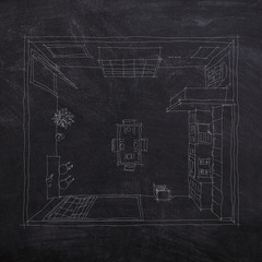 2d interior chalk freehand sketch drawing on blackboard of furnished kitchen room