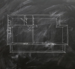 2d interior chalk freehand sketch drawing on blackboard of empty home apartment