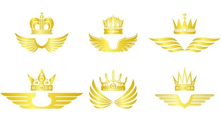 Golden crown with wings vector