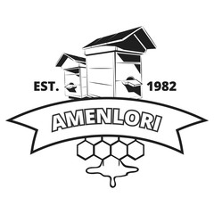 Retro beekeeper, honey vector label, badge, emblem, logo in black