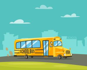 Vintage yellow school bus. Cartoon vector illustration