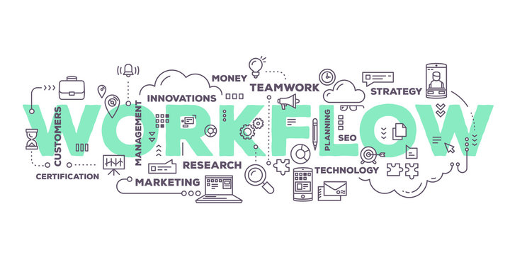 Vector creative illustration of workflow word lettering typograp