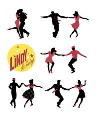 Fototapete - Lindy & Swing Party. Young people dancing swing or lindy hop
