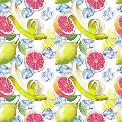 Nice handmade pattern of citrus fruits: lemon, grapefruit, orange, lime. Watercolor.