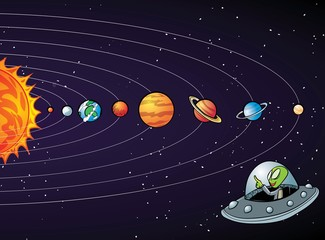 Cartoon solar system