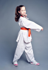 Little girl in white kimono