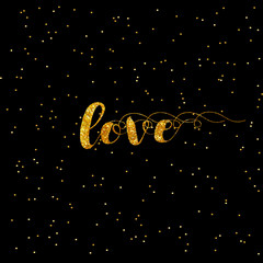 Heart Love gold glitter background. Golden armour background for flyer, poster, sign, banner, web, header, invitation. Abstract shine sparkles for text, type, quote. Happy valentines day.