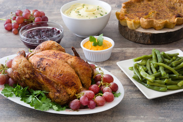 Thanksgiving dinner on rustic wooden background