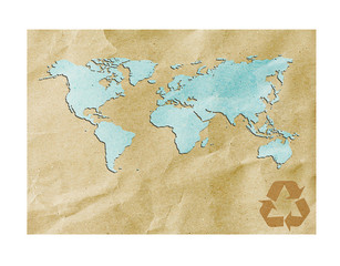 world map recycled paper on vintage tone background