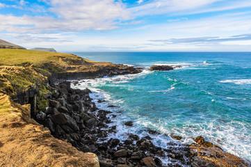Coastal landscape near Slope Point, New Zealand