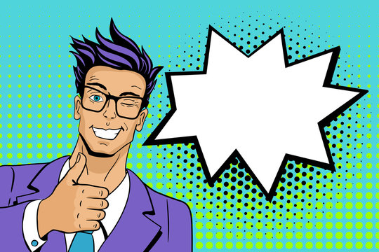 Pop art man. Young hansome man in glasses smiles, winks and shows thumb up . Vector illustration in retro comic style. Vector pop art background.