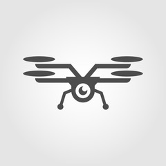 Flying drone with camera icon for apps and websites