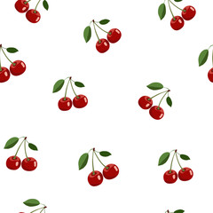 Pattern of red small cherry stickers same sizes with leaves on white background