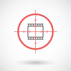 Isolated line art crosshair icon with   a photographic 35mm film