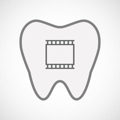 Isolated line art tooth icon with   a photographic 35mm film str