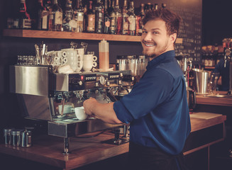 Barista preparing cup of coffee for customer in coffee shop.
