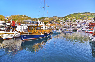 traditional boats at Hydra island Saronic gulf Greece