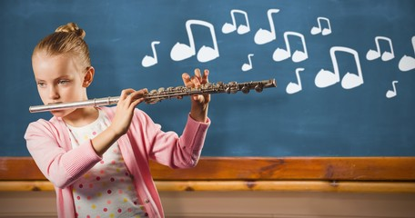 Composite image of girl playing german flute
