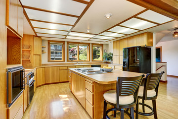 Kitchen room interior with wooden cabinets, island and hardwood floor