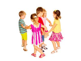Group of emotional children friends dancing.