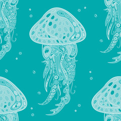Seamless pattern of hand-drawn and colored ornamental marine jellyfish. Style zentangl. Vector graphics.