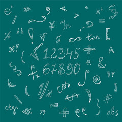 Hand Drawn Doodle Symbols and Numbers.Chalk Scribble Signs on Green Background. Vector Illustration.