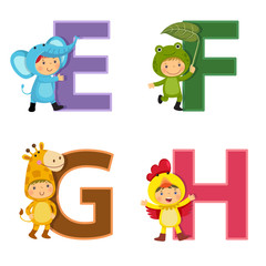 English alphabet with kids in animal costume, E to H letters