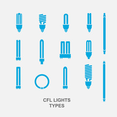 CFL Light bulb base type icon set in blue