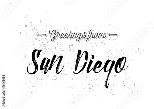 Greetings from san diego america greeting card with lettering greetings from san diego america greeting card with lettering design m4hsunfo