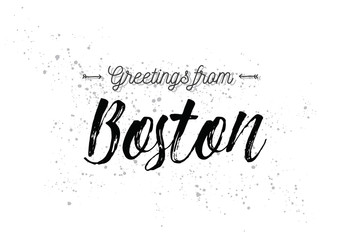 Poster de jardin Positive Typography Greetings from Boston, America. Greeting card with lettering design.