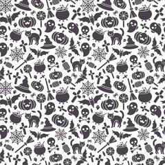 Halloween Seamless Pattern -Black Icons on White