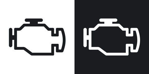 Vector engine icon. Two-tone version on black and white background Fototapete