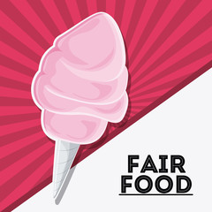 cotton candy fair food snack carnival festival icon Vector illustration