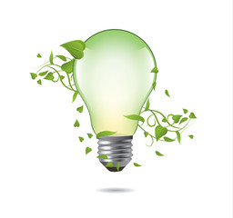 Green ecology bulb concept. Environment vector illustration.