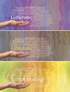 Manual Lymphatic Drainage Word Cloud x 3 - female hand palm facing up with the word LYMPHATIC DRAINAGE above surrounded by relevant words on a fluid like background showing three different colorways