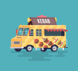 Vector colorful flat kebab truck. Barbecue and smoked meat. Street cuisine. Cartoon food truck illustration.