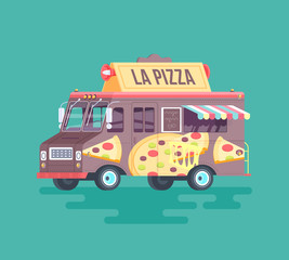 Vector colorful flat pizza truck. Cartoon illustration.