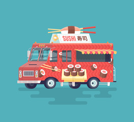 Vector colorful flat sushi truck. Japanese traditional cuisine. Street cuisine. Cartoon food truck illustration.