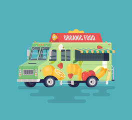 Vector colorful flat organic food truck. Fruits and vegetables delivery wagon. Street cuisine. Cartoon food truck illustration.