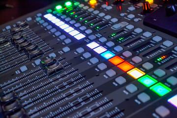 Console in recording studio