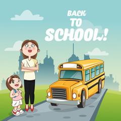 yellow bus girl teacher back to school cartoon icon. Colorful design. Vector illustration