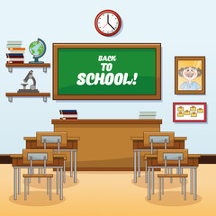 classroom back to school cartoon icon. Colorful design. Vector illustration
