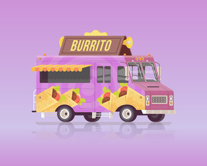 Vector colorful flat burrito truck. Arabian and Eastern traditional cuisine. Street cuisine. Vintage colors concept illustration.