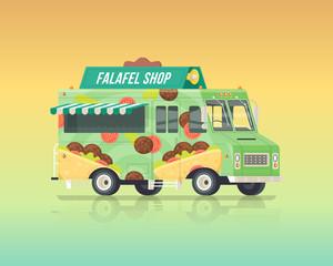 Vector colorful flat falafel truck. Street cuisine. Vintage colors concept illustration.
