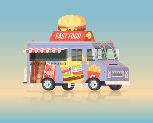 Vector colorful flat fast food truck. Street cuisine. Vintage colors concept illustration.