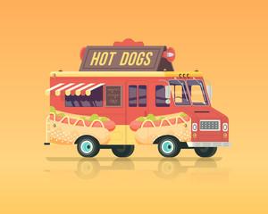 Vector colorful flat hot dog truck. Vintage colors concept illustration.