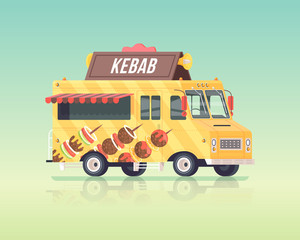 Vector colorful flat kebab truck. Arabian and Eastern traditional cuisine. Street cuisine. Vintage colors concept illustration.
